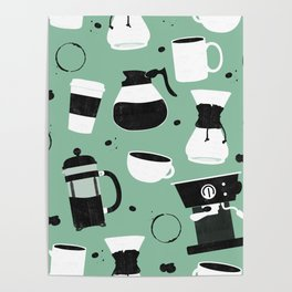 Do you even coffee? (teal) Poster