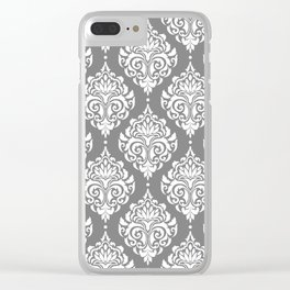 Grey Damask Clear iPhone Case