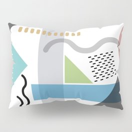 Geometric abstract art, pastel tones shapes and dots print Pillow Sham