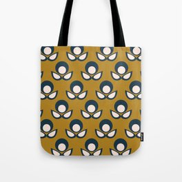 Bubble Flower Retro Pattern in Golden Mustard, Navy Blue, and Pale Blush Pink Tote Bag