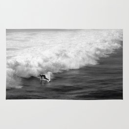 Lone Surfer in Black and White Rug