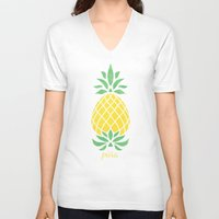 pineapple V-neck T-shirts featuring Pineapple by Jacqueline Maldonado