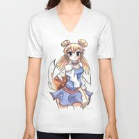 eevee V-neck T-shirts featuring Eevee Gijinka by Elena Ceccotti