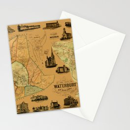 Map Of Waterbury 1852 Stationery Cards