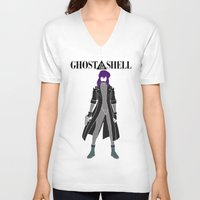 ghost in the shell V-neck T-shirts featuring Ghost in the Shell by Krbshadow