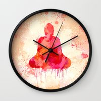 buddhism Wall Clocks featuring Red Buddha Watercolor art by Thubakabra