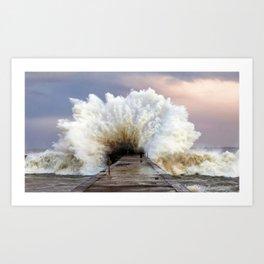 Big Wave Breakin At Little Pier Ultra HD Art Print