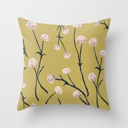 Dandelions on Ochre Throw Pillow