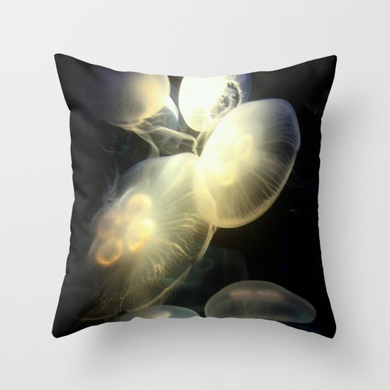 Jellyfish Darkness to Light Throw Pillow