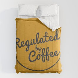 Regulated by Coffee // Caffeine Addict Typography Cafe Barista Humor Retro Vintage Quotes Comforters