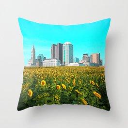 Columbus Ohio Skyline and Sunflowers Throw Pillow