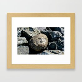 Happy Faces Carved in Stone Framed Art Print