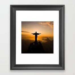 Christ The Redeemer Flipping Us Framed Art Print