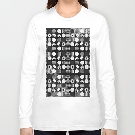 Hectic Geometric On Textured Black And White Long Sleeve T-shirt