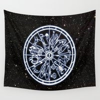 zodiac Wall Tapestries featuring Zodiac Wheel by Wild Man Illustrations.com