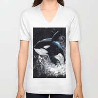 orca V-neck T-shirts featuring Orca by Kelly Katastrophe