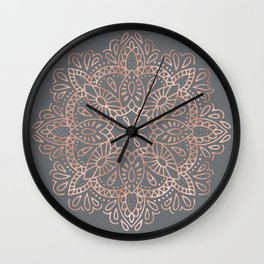 Mandala Rose Gold Pink Shimmer on Soft Gray by Nature Magick Wall Clock