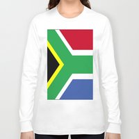 south africa Long Sleeve T-shirts featuring South Africa Flag (1994) by D.A.S.E. 3