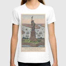 Vintage NYC & Statue of Liberty Illustration (1885) T-shirt
