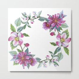 Apple Blossom Wreath 02 Metal Print