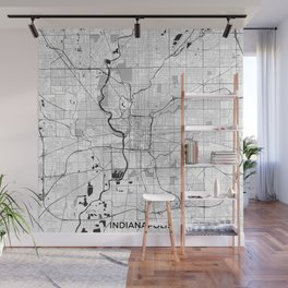 Indianapolis Map Gray Wall Mural