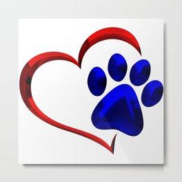 Paw Print on My Heart Metal Print