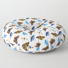 Orange and Blue Butterfly Pattern Floor Pillow