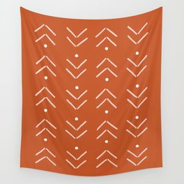 Arrow Lines Pattern in Terracotta Rose Gold Wall Tapestry