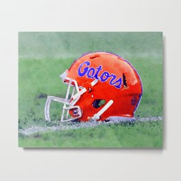 Gators Football Helmet - College Football Art Metal Print