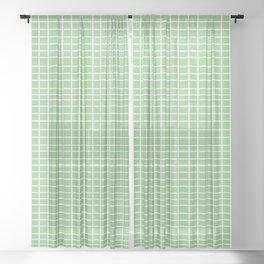 Squares of Green Sheer Curtain