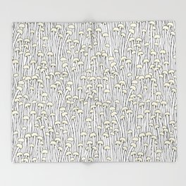 Enokitake Mushrooms (pattern) Throw Blanket