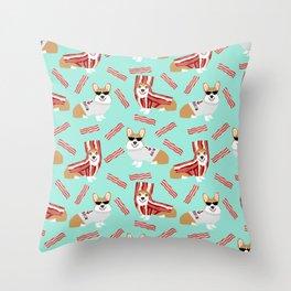 Corgi Bacon art print cute corgis dog bacon food corgis pillow funny bacon design Throw Pillow