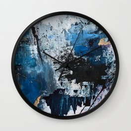 Breathe: colorful abstract in black, blue, purple, gold and white Wall Clock