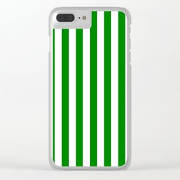 Narrow Vertical Stripes - White and Green Clear iPhone Case