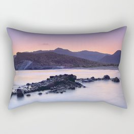 Half Moon Beach. Purple Sunset At The Mountains Rectangular Pillow
