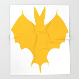 Orange-Yellow Silhouette Of a Bat  Throw Blanket