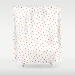 Sweet Peach Polka Dot, White Shower Curtain