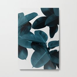 Indigo Blue Plant Leaves Metal Print