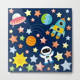 Space and astronaut Metal Print