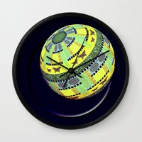 globe Wall Clocks featuring Butterfly globe by LoRo  Art & Pictures
