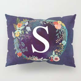 Personalized Monogram Initial Letter S Floral Wreath Artwork Pillow Sham