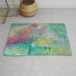 Colorful Spring Magic Tree painting Rug