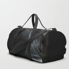 Minimalist Black Scottish Highland Cattle Portrait - Animal Photography Duffle Bag