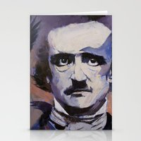 edgar allan poe Stationery Cards featuring Edgar Allan Poe by Michael Creese