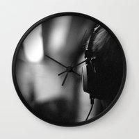headphones Wall Clocks featuring Headphones by Dan McKechnie