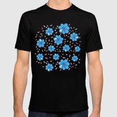 Gentle Blue Flowers Pattern MEDIUM Black Mens Fitted Tee