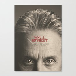 Wall Street, alternative movie poster, Gordon Gekko, Oliver Stone, film, minimal fine art playbill Canvas Print