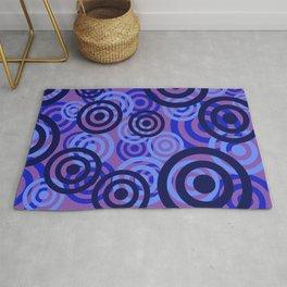 Blue Rings violet background Rug