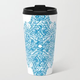 Blue Snowflake  Metal Travel Mug