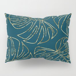Metallic Monstera Leaves Pillow Sham